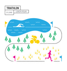 map sport triathlon vector image