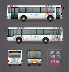 City bus template in realistic style vector