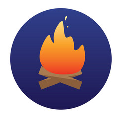 Campfire with firewood icon of for vector