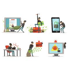 cartoon of internet hackers vector image