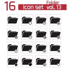 black folder icon set vector image