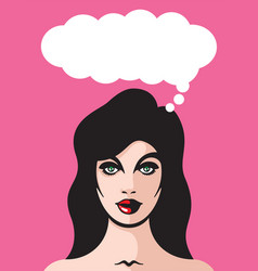 pretty woman with thought bubble vector image