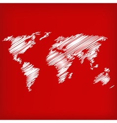 Sketch of world map on red vector image