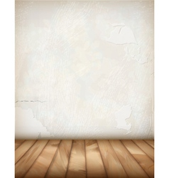 White plaster wall wood floor vector