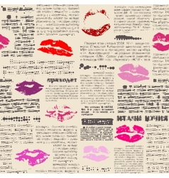 Imitation of newspaper with the lips prints vector