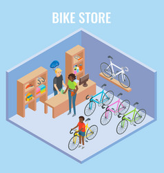 3d isometric bike shop concept vector