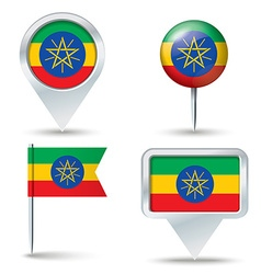 Map pins with flag of ethiopia vector