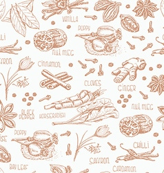 Seamless pattern of spices on a white background vector