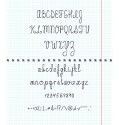 Set capital english handwriting font on paper font vector