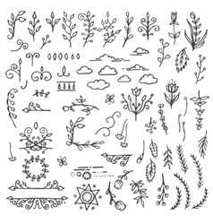 Set of hand drawn black doodle design elements vector
