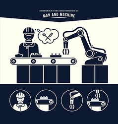 Production line man and machine vector