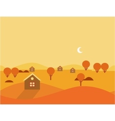Orange seamless cartoon nature landscape vector