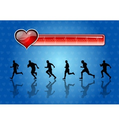 runners and red health symbol vector image