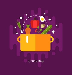 Flat style with kitchen appliances and food soup vector
