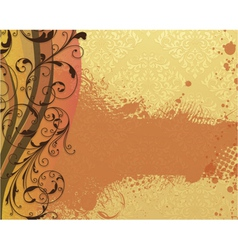 Damask background with floral vector