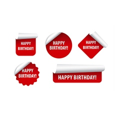 happy birthday stickers vector image