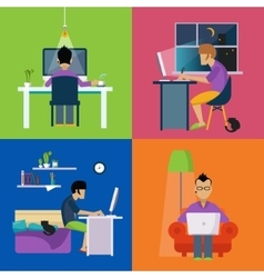 Men working freelance set vector