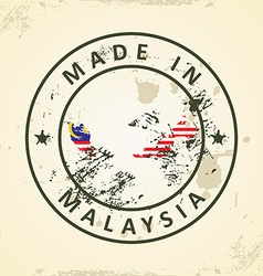 Stamp with map flag of malaysia vector