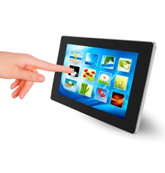 tablet pc with icons women hand vector image
