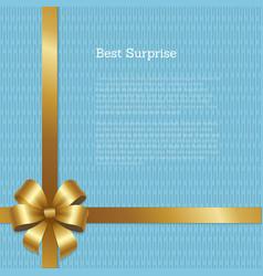 Best surprise certificate design gold bow corner vector