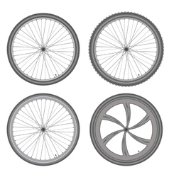 bicycle wheels different set on white background vector image
