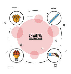colorful poster creative process with icons on vector image