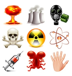 Danger and radioactive icons set vector