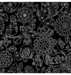 Doodle seamless background with steampunk birds vector image