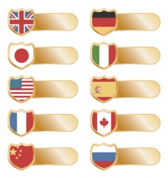 gold flag tabs vector image vector image