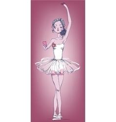 Hand drawn with ballerina girl vector