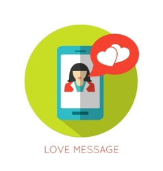 Love message flat concept Valentines day icon for vector image vector image