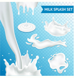 Milk Splash Set vector image