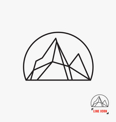 mountain line icon vector image vector image