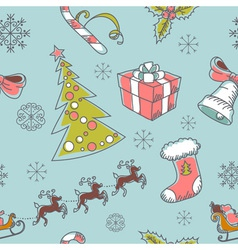 Seamless Christmas hand drawn pattern vector image