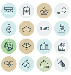 set of 16 celebration icons includes ringer flan vector image