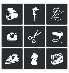 Set of Sewing Studio Icons Matter Model vector image vector image