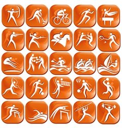 Set os orange sport icons vector image