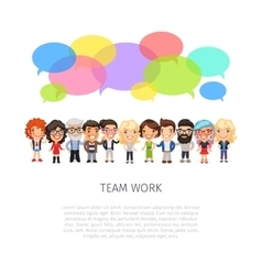 Team Work with Colorful Speech Bubbles vector image