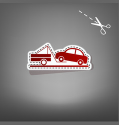 Tow truck sign red icon with for applique vector