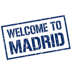 Welcome to madrid stamp vector