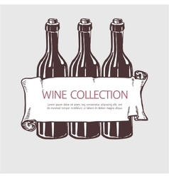 Wine bottle collection with banner vector image