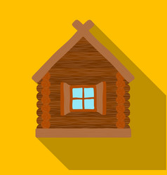wooden house icon in flat style isolated on white vector image