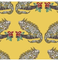 seamless pattern with hand drawn iguana vector image