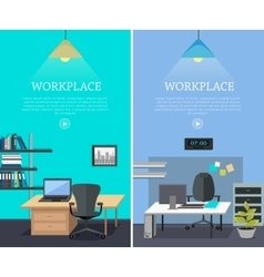 Set of workplace web banners in flat design vector