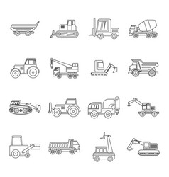 Building vehicles icons set outline style vector