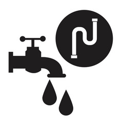 Black silhouette house faucet with drops and inco vector