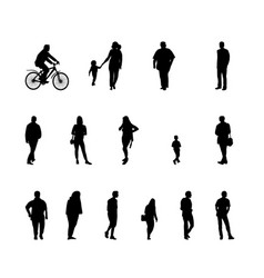 Set of silhouette walking people and children vector