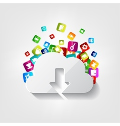 Cloud download icon Application button vector image
