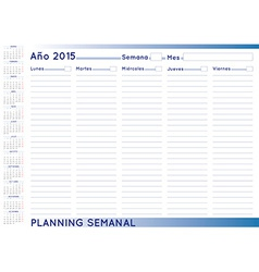 Weekly planner spanish vector