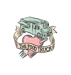 Food truck heart fork etching vector